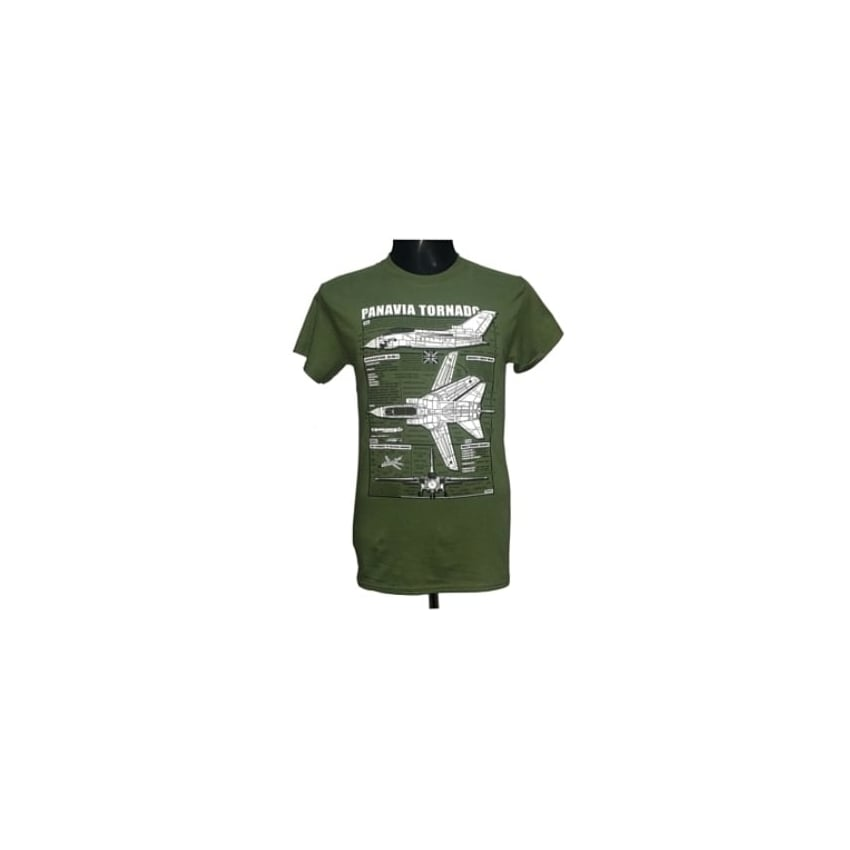 Tornado Plan Motif T-Shirt (Green)