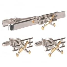 Tri Plane Tie Bar and Cufflinks Gift Set