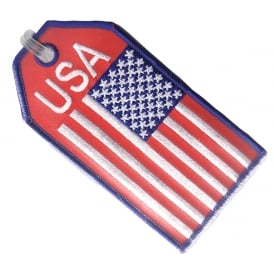 USA Flag Embroidered Baggage Tag