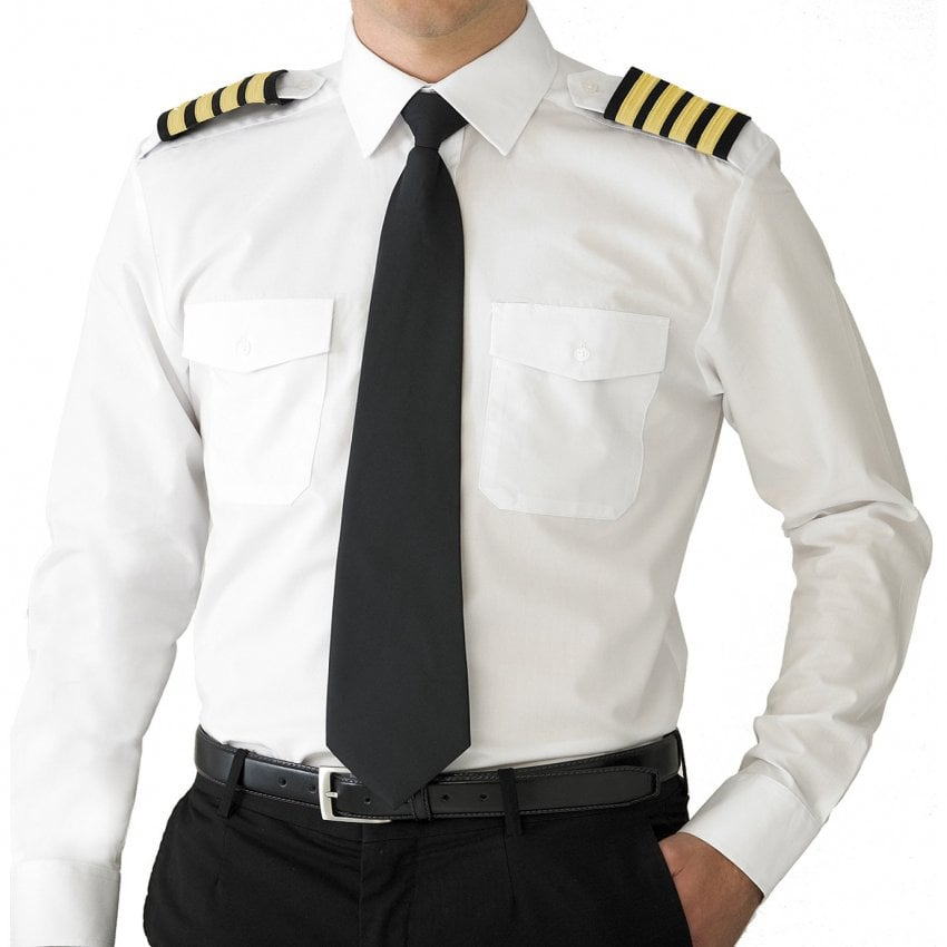 V one mens pure cotton long sleeve airline pilot shirt for Mens dress shirts uk