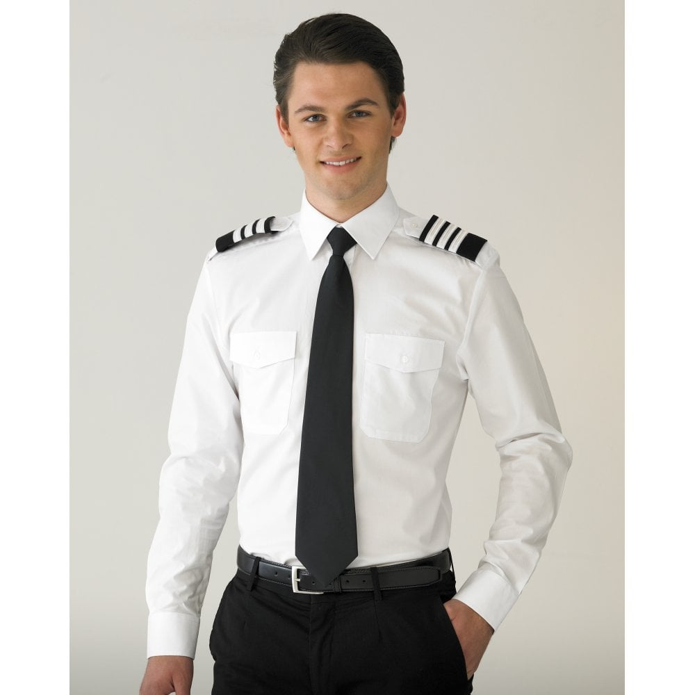 5a478518b6a V One Mens Pure Cotton Airline Pilot Shirt Long Sleeve - Slim Fit