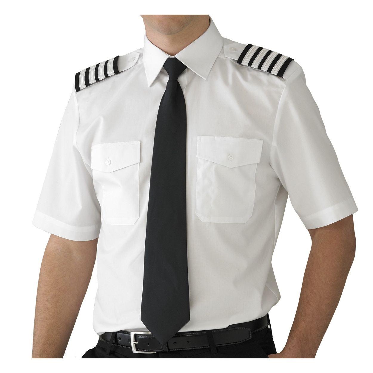 V one mens pure cotton airline pilot shirt short sleeve for Mens slim fit short sleeve shirt