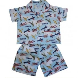 Vintage Planes Childrens Top & Shorts Pyjama Set - Last Stock