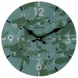RAF Vulcan Blueprint Glass Wall Clock