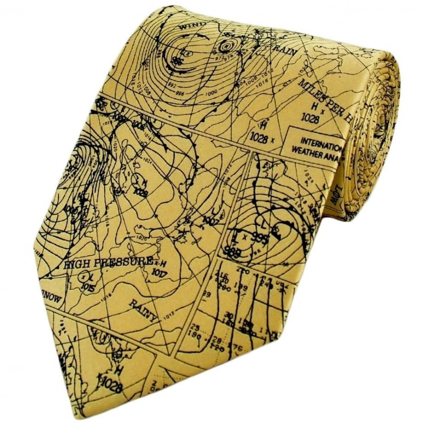 Weather Map Silk Tie