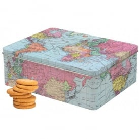 World Traveller Square Tin of Biscuits