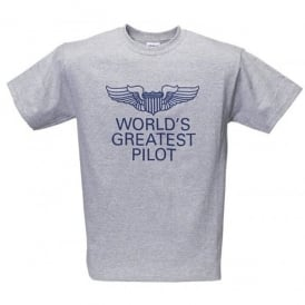 Gifts For Aviators World's Greatest Pilot T-Shirt - Grey