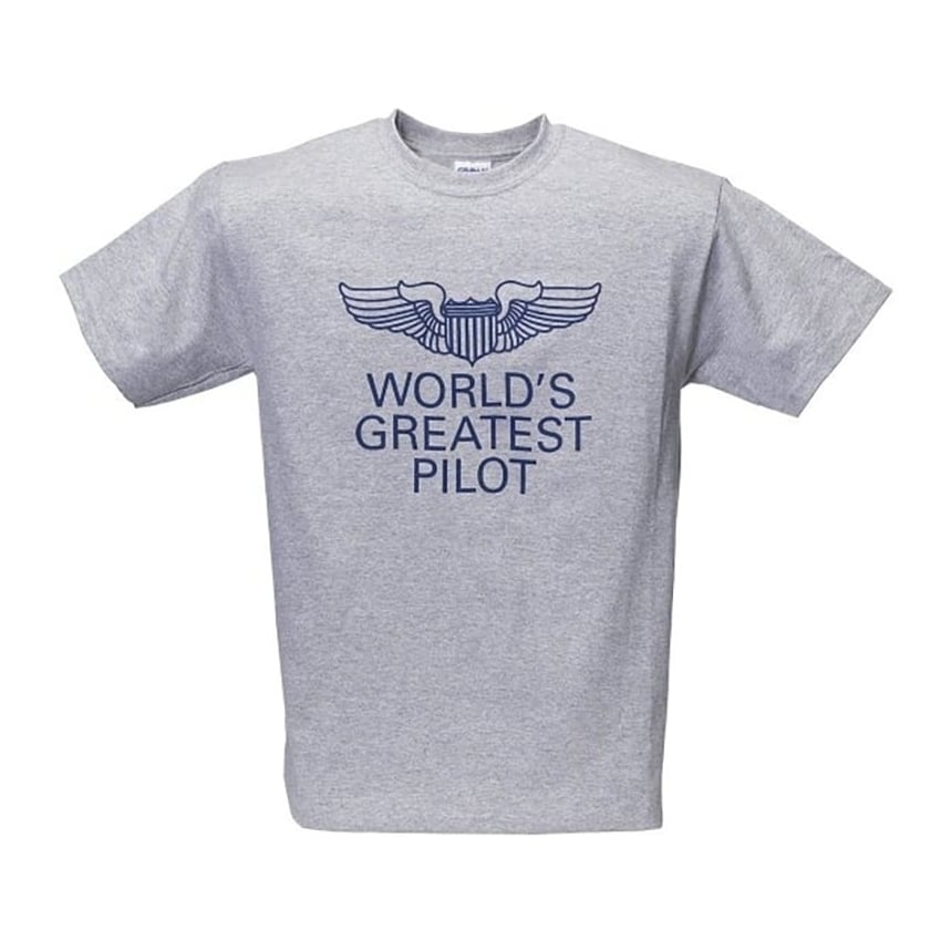 World's Greatest Pilot USAF Wings T-Shirt - Grey