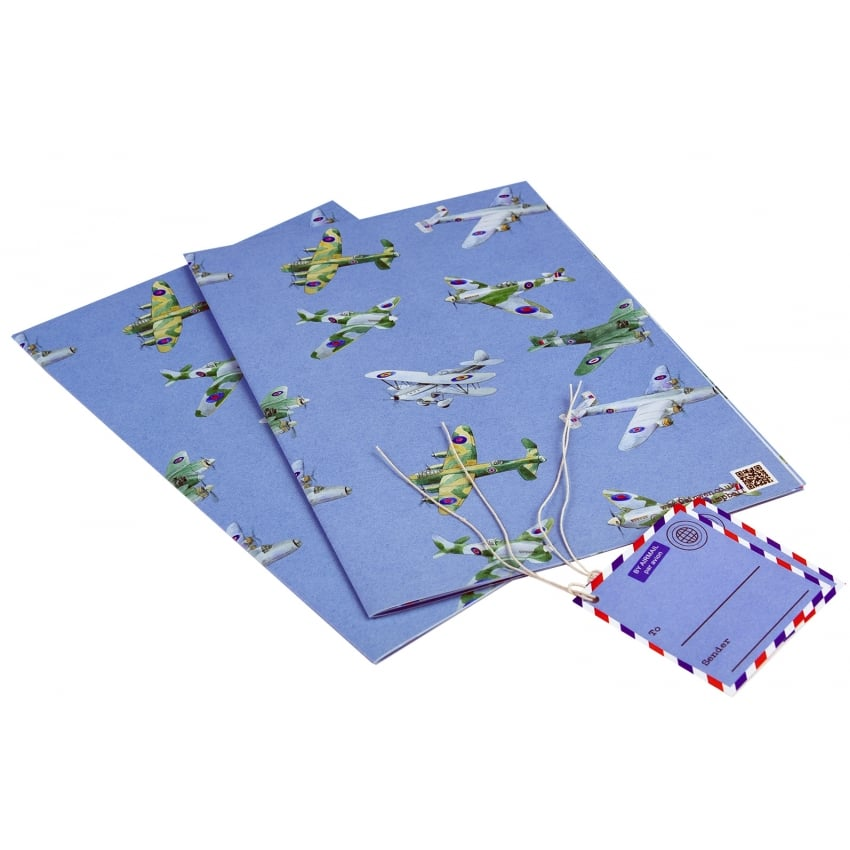 WW2 Planes Montage Gift Wrap - 2 Sheets & Tags