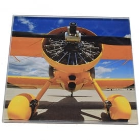 art2glass Yellow Bi-Plane Glass Coaster Single in Box